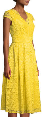 Chetta B Lace Cap-Sleeve Fit-and-Flare Dress