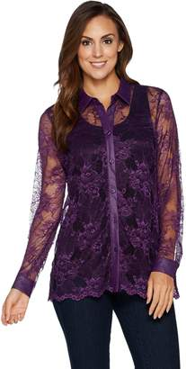 Belle By Kim Gravel Belle by Kim Gravel Lace Button Front Top with Faux Leather