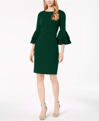 Calvin Klein Tiered-Bell-Sleeve Sheath Dress