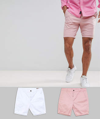 Asos DESIGN 2 Pack Skinny Chino Shorts In Pastel Pink & White Save