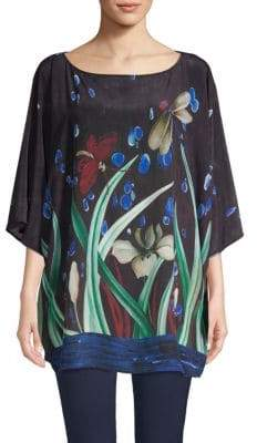 Marina Rinaldi Floral Silk Kimono Top