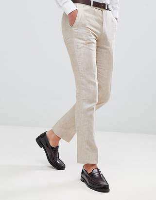 Moss Bros Skinny Suit Pants In Cream Linen