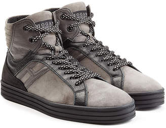 Hogan Suede and Leather High-Top Sneakers