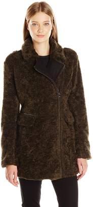 Catherine Malandrino Women's Faux Fur Zip Front Jacket with Wool Trim