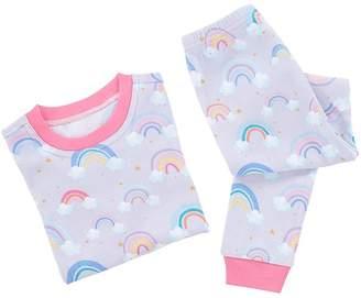 Pottery Barn Kids Rainbow Cotton Tight Fit Pajama, 3T