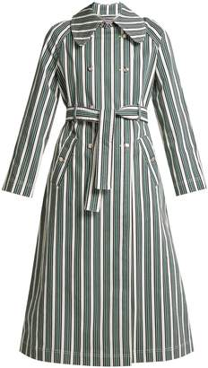 ALEXACHUNG Striped cotton-blend trench coat
