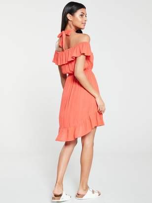 6f596012ba Very Bardot Halter Crinkle Rayon Summer Dress - Coral