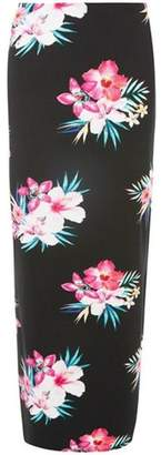 Dorothy Perkins Womens Black Tropical Floral Maxi Skirt
