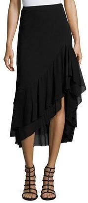 Fuzzi Asymmetric Ruffled Tulle Midi Skirt, Black $295 thestylecure.com