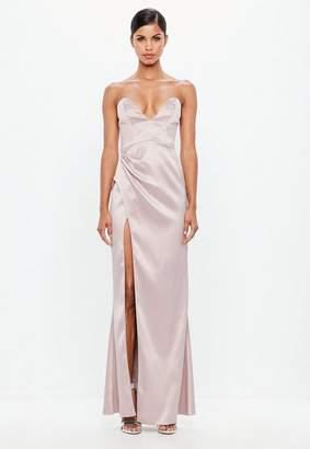 Missguided Mauve Bonded Satin Maxi Dress