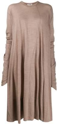 Jil Sander oversized asymmetric pleated dress