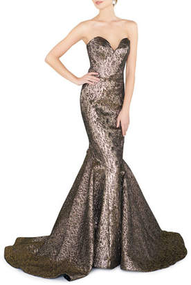 Mac Duggal Sweetheart Strapless Metallic Mermaid Gown