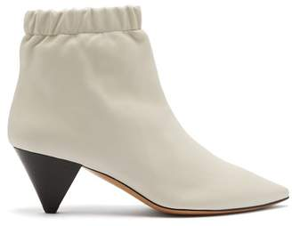 Isabel Marant Leffie Leather Ankle Boots - Womens - White