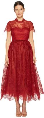 Marchesa Short Sleeve Wired Lace Tea Length Gown with Velvet Ribbon Women's Dress