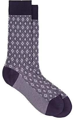 Barneys New York Men's Diamond-Textured Cotton-Blend Mid-Calf Socks