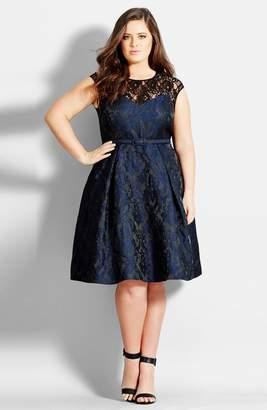 City Chic Lace Neck Brocade Dress