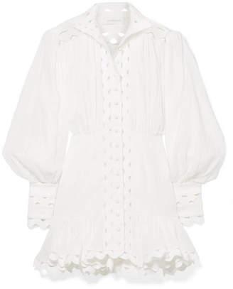 Zimmermann Ninety-six Wave Rickrack-trimmed Ramie And Linen Mini Dress - Ivory