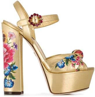 Dolce & Gabbana gold platform sandals