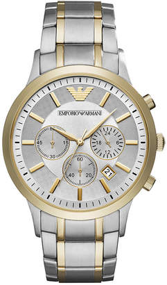 Emporio Armani Men's Chronograph Two-Tone Stainless Steel Bracelet Watch 43mm