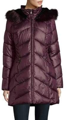 Gallery Faux Fur Trimmed Chevron Quilted Coat