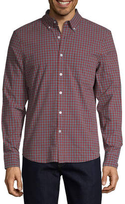 ST. JOHN'S BAY Stretch No Tuck Mens Long Sleeve Checked Button-Front Shirt