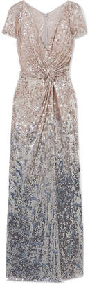Jenny Packham Blondell Wrap-effect Ombré Sequined Tulle Gown - White