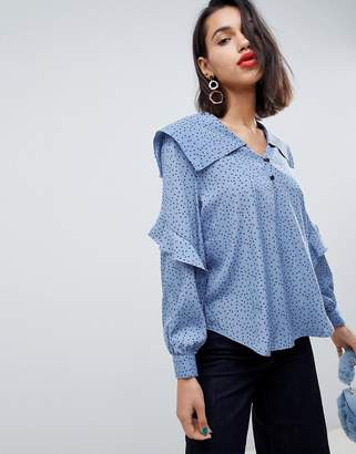 Side Party June dotted collar ruffled blouse