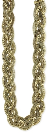 Z Designs Burnished Metal Diamond Mesh Chain Necklace