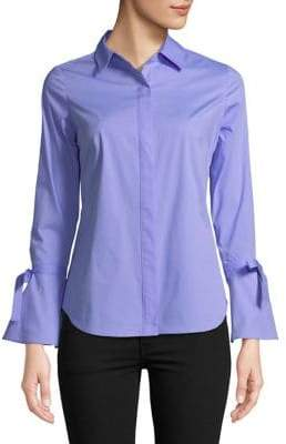 Lord & Taylor Petite Bell-Sleeve Button-Down Shirt