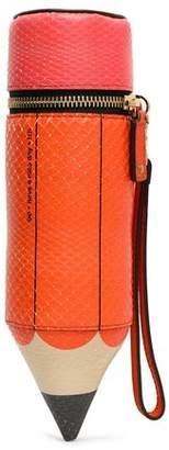 Anya Hindmarch Anya Hindmarch Femme Orange Taille Embrayage Python Imprimé Étui À Crayons Très À Vendre Grand Escompte Parfait Sortie Le Plus Grand Fournisseur En Ligne Pas Cher kRaoMDzAPc