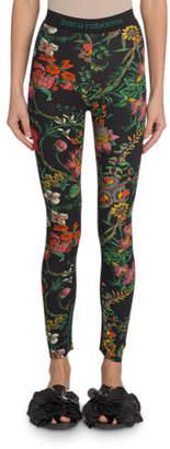 Paco Rabanne Floral-Print Leggings
