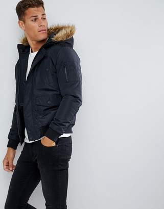 French Connection Faux Fur Hood Flight Jacket