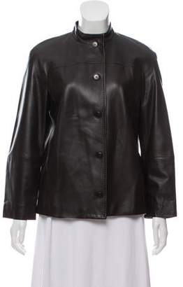 Max Mara Leather Stand Collar Jacket
