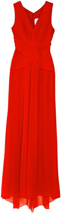 Carolina Herrera Red Reef Silk Chiffon Gown