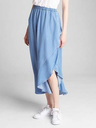Gap Ruffle Wrap Midi Skirt in TENCEL