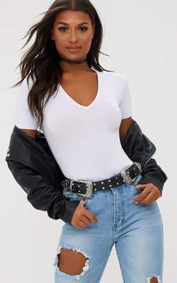 PrettyLittleThing Basic Black V Neck Shortsleeve Thong Bodysuit