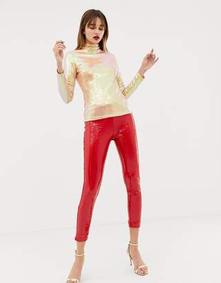 Warehouse x Ashish sequin leggings in red