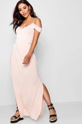 boohoo Lace Trim Cold Shoulder Maxi Dress