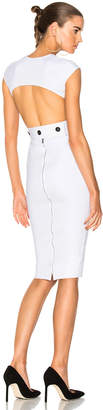 Victoria Beckham Dense Rib Jersey Open Back Fitted Dress