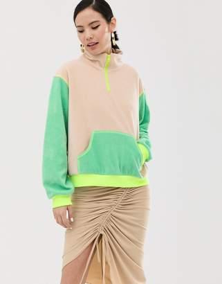 Zya ZYA half zip fleece with contrast panels