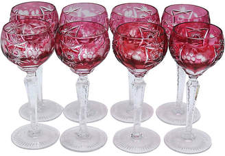 One Kings Lane Vintage Cut Cranberry Bohemian Wine Stems - Set of 8 - Rose Victoria