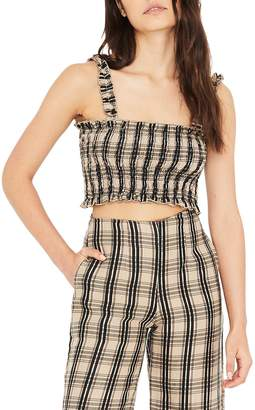 Faithfull The Brand Tijana Plaid Smocked Crop Top