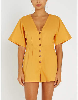 Seafolly Low-back tassel-trimmed linen and cotton-blend playsuit