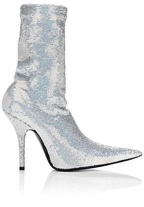 Balenciaga Women's Knife Tech-Jersey Ankle Boots - Silver