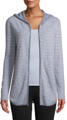 Neiman Marcus Cashmere Zip-Front Striped Hoodie Sweater