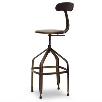 Baxton Studio Architect's Industrial Bar Stool with Backrest in Antiqued Copper