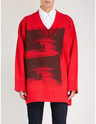 Calvin Klein Andy Warhol-print oversized chunky-knit jumper