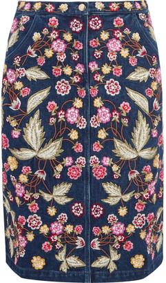 Needle & Thread - Wild Flower Embroidered Denim Skirt - Dark denim $400 thestylecure.com