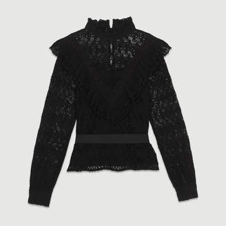 Maje Lace top with satin belt