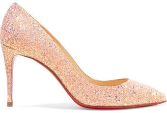 Christian Louboutin Pigalle Follies 85 Glittered Leather Pumps - Baby pink